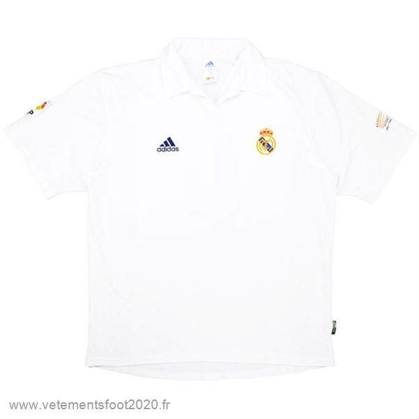 Domicile Maillot Real Madrid Rétro 2001 2002 Blanc Vente Maillot Foot